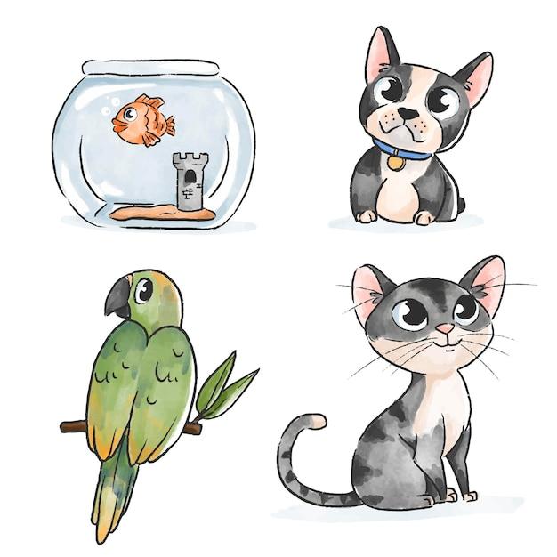 Ручной обращается дизайн милые домашние животные Бесплатные векторы