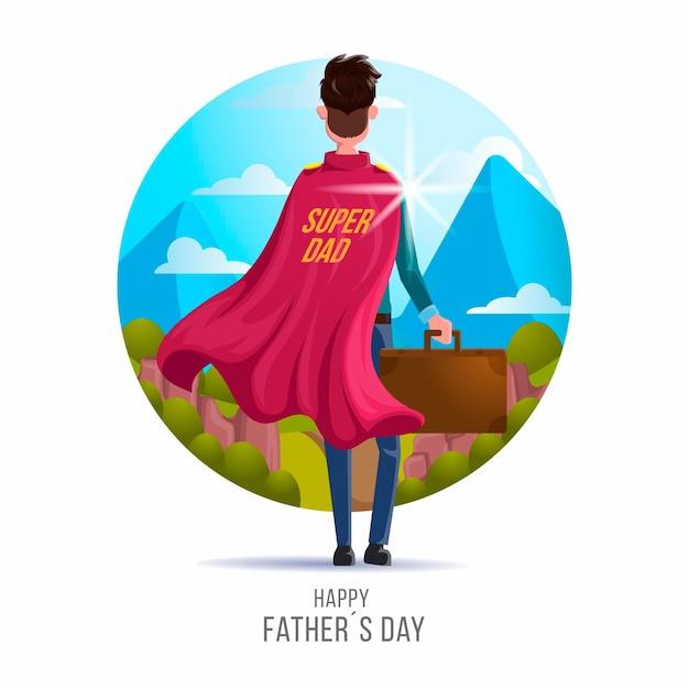 День отца с папой супергероем Бесплатные векторы