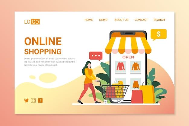 フラットなデザインのオンラインショッピングのランディングページ 無料ベクター
