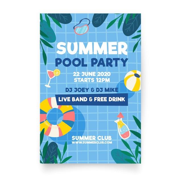 Плоский дизайн летней вечеринки постер Бесплатные векторы