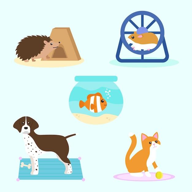 Набор различных животных иллюстрации Бесплатные векторы