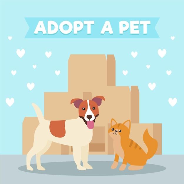 犬と猫のペットコンセプトを採用 無料ベクター