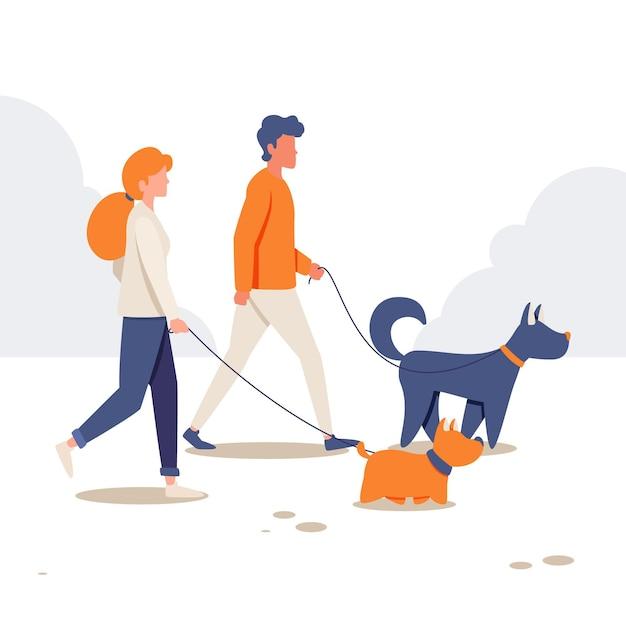 自然の中で犬を散歩する人々 無料ベクター