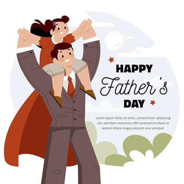 Плоский дизайн празднования дня отца Бесплатные векторы