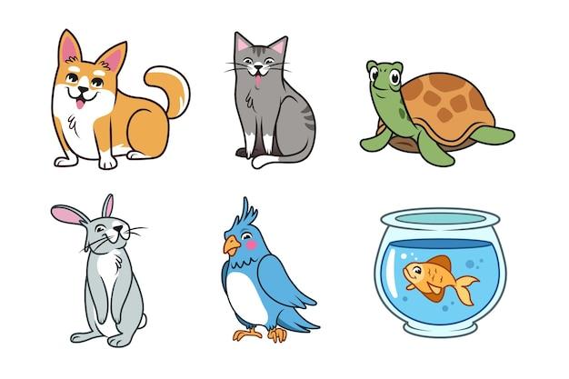 Концепция различных животных Бесплатные векторы