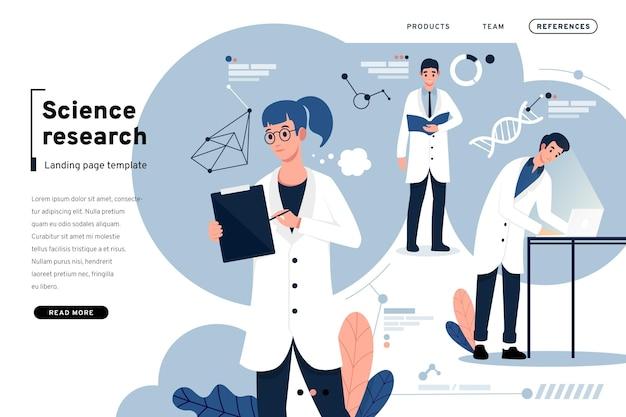Научные исследования и целевая страница людей Бесплатные векторы