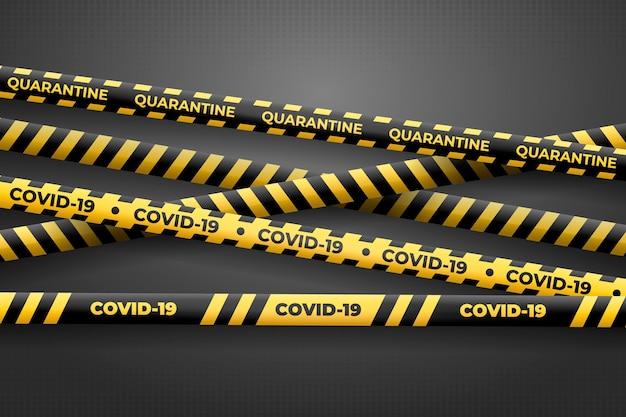 Реалистичные черные и желтые карантинные полосы Бесплатные векторы