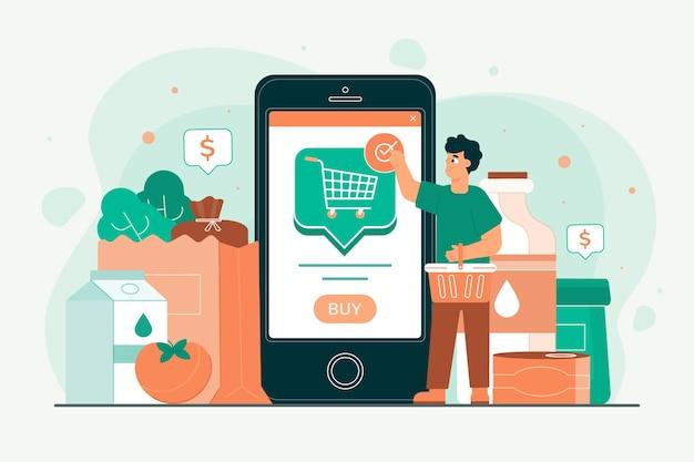 オンラインで食料品を買い物する人々 無料ベクター