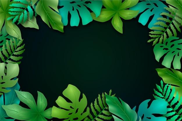 熱帯の葉の背景 無料ベクター
