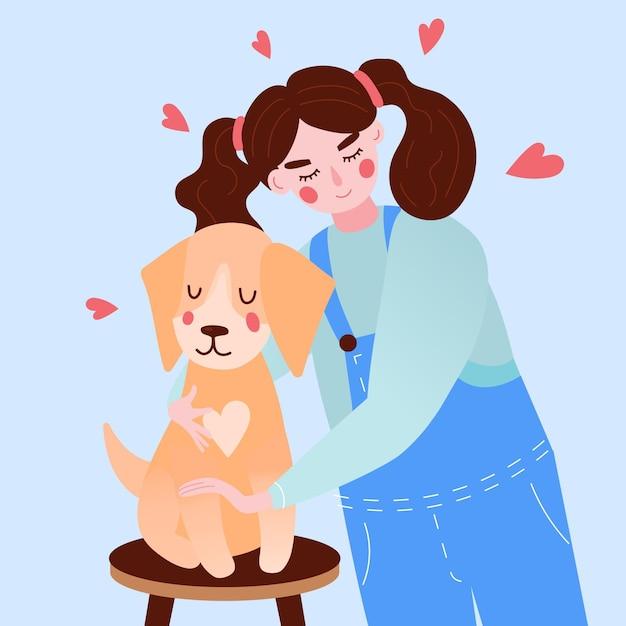 女の子と犬と一緒にペットのコンセプトを採用 無料ベクター