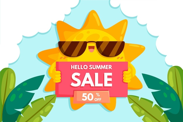 Привет летняя распродажа с солнцем и листьями Бесплатные векторы