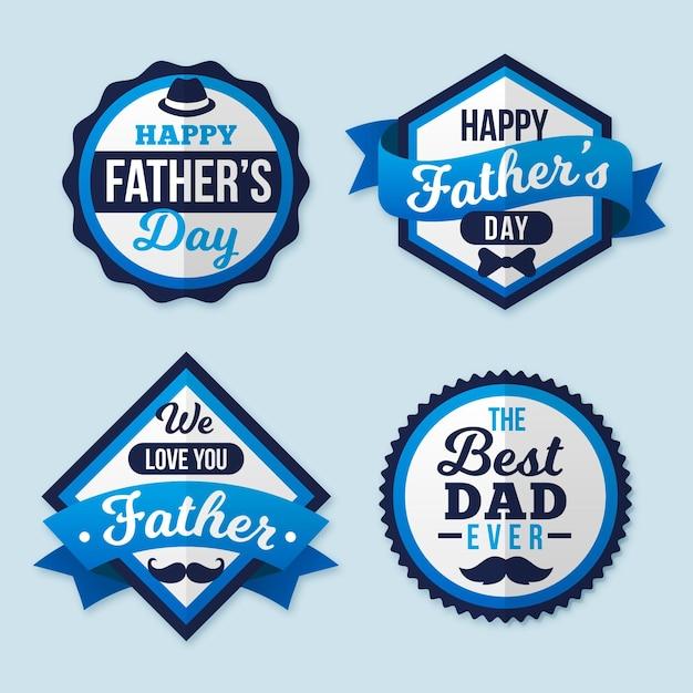 День отца этикетки Бесплатные векторы