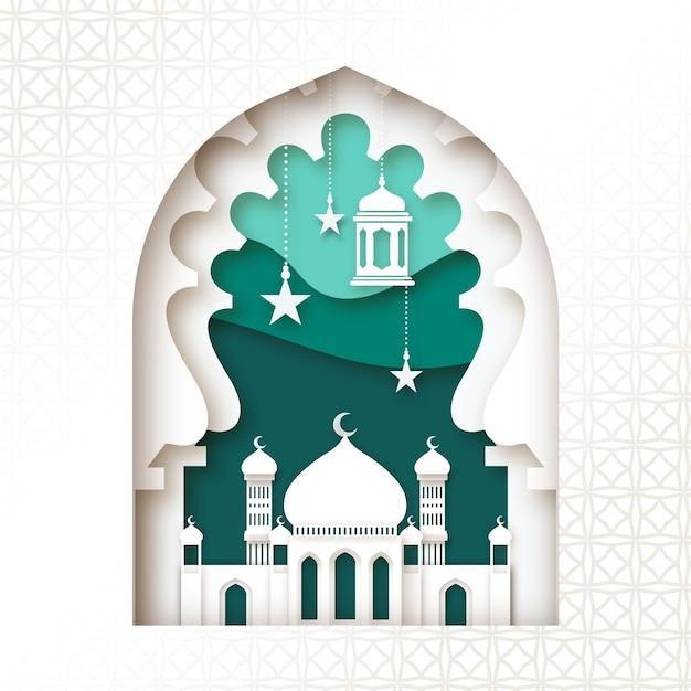 Мечеть в слоях бумаги в стиле ид мубарак Бесплатные векторы
