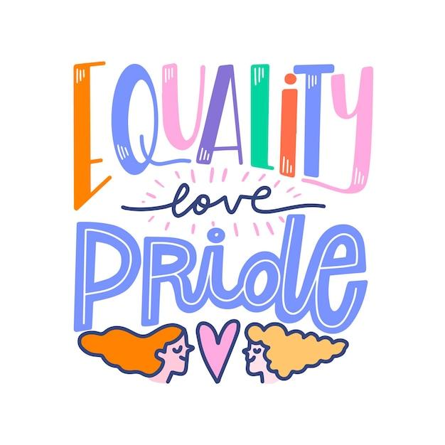 Гордость день надписи с равенством Бесплатные векторы