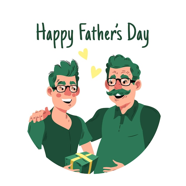 Счастливый день отца с папой и сыном Бесплатные векторы