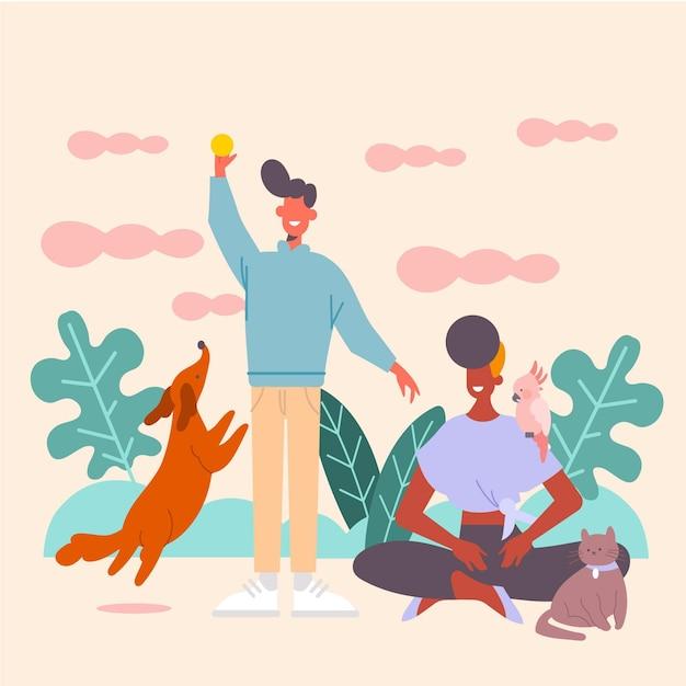 Люди играют со своими питомцами иллюстрации с собакой и кошкой Бесплатные векторы