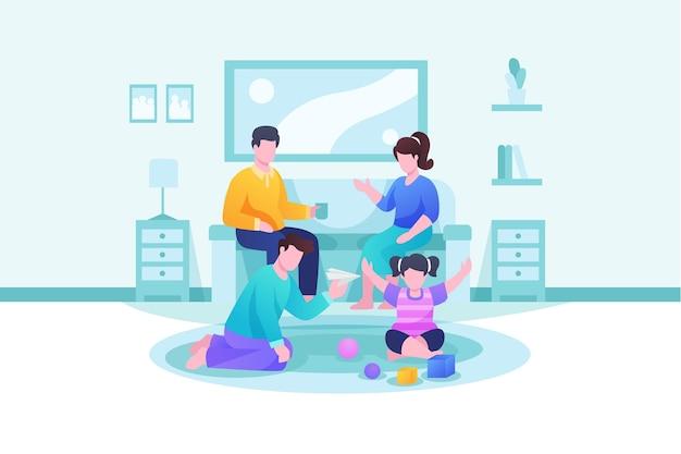 時間の概念を楽しむ家族 無料ベクター