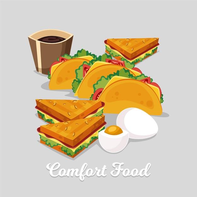 タコスとサンドイッチのコンセプト 無料ベクター