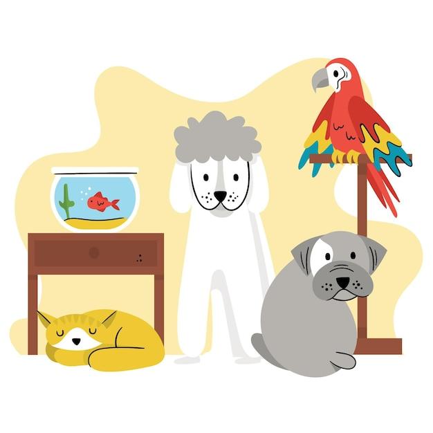 Концепция разных животных Бесплатные векторы