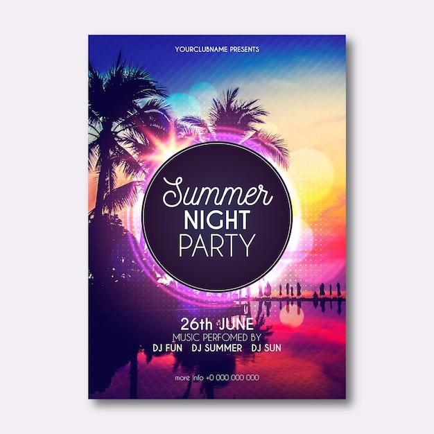 Летняя вечеринка флаеры Бесплатные векторы