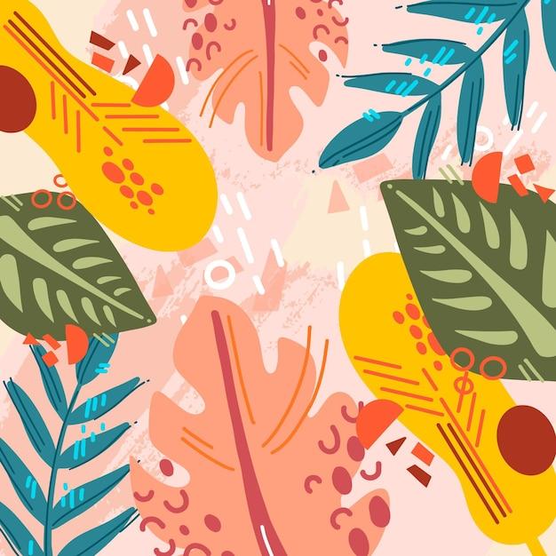 Абстрактные тропические листья с розовым фоном Бесплатные векторы