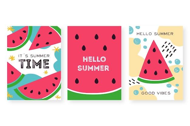 Набор рисованной летних карт Бесплатные векторы