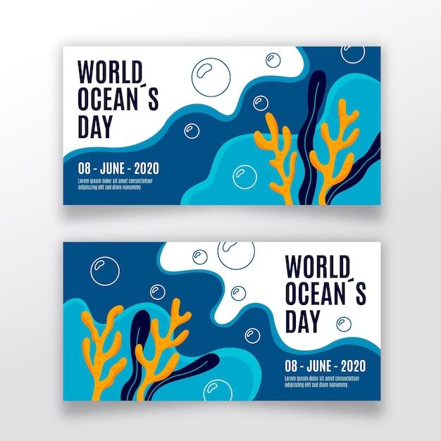 Набор рисованной баннеры день океана Бесплатные векторы