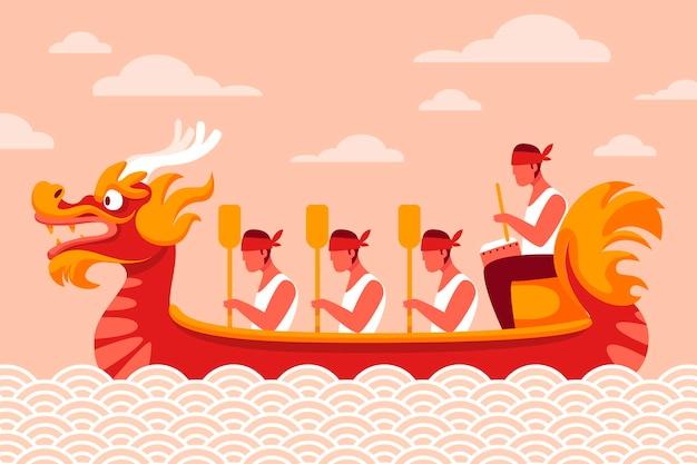 Ручной обращается фон лодка дракона Бесплатные векторы