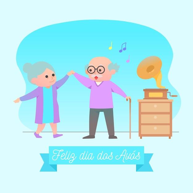 Старейшины бабушки и дедушки танцуют в помещении Бесплатные векторы