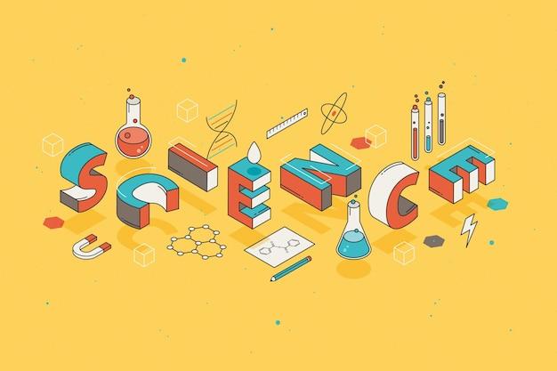 Наука слово концепция в изометрии Бесплатные векторы