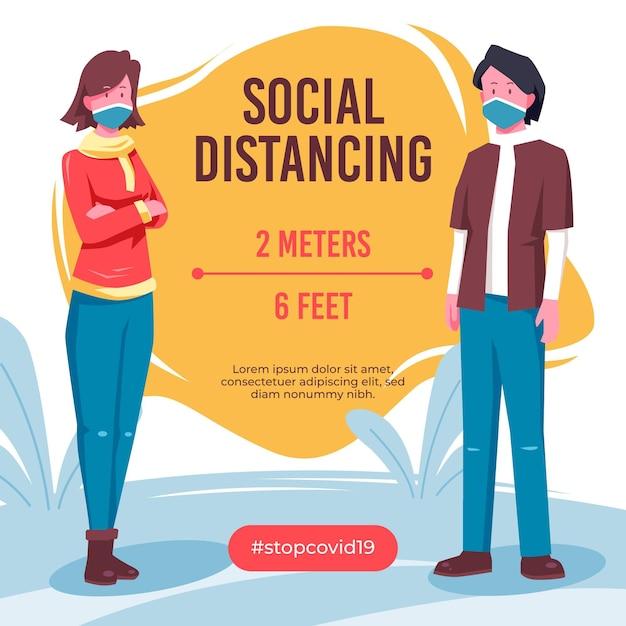 社会的距離のインフォグラフィック 無料ベクター