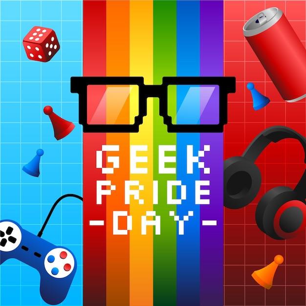 Очки для чтения и игры выродка гордости день Бесплатные векторы