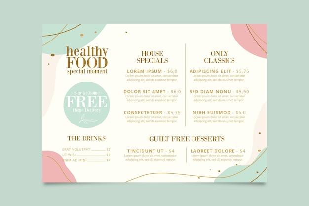Концепция шаблона меню ресторана Бесплатные векторы