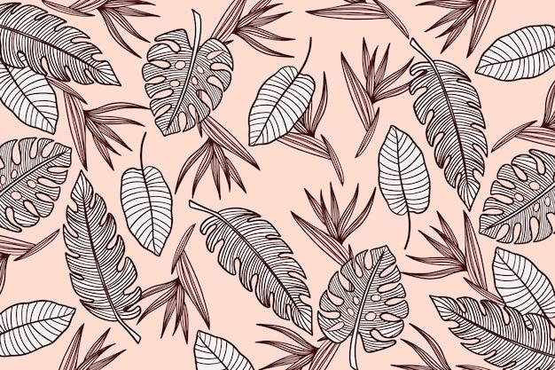 Линейный фон тропических листьев с пастельным цветом Бесплатные векторы