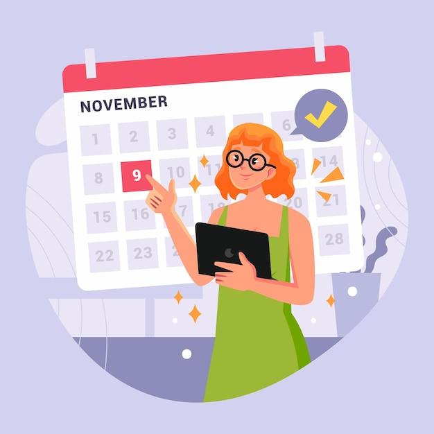 カレンダーと女性との予約 無料ベクター