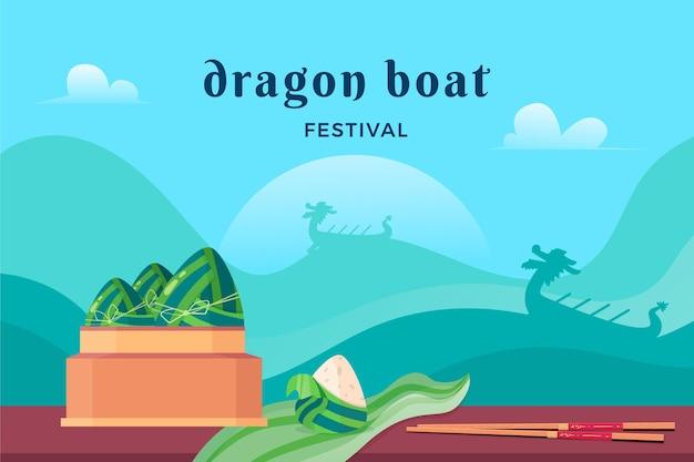 Праздник лодок-драконов плоский дизайн фона Бесплатные векторы