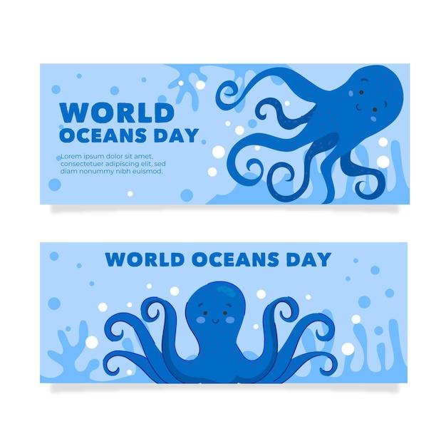 Нарисованное рукой знамя дня мирового океана стиля Бесплатные векторы