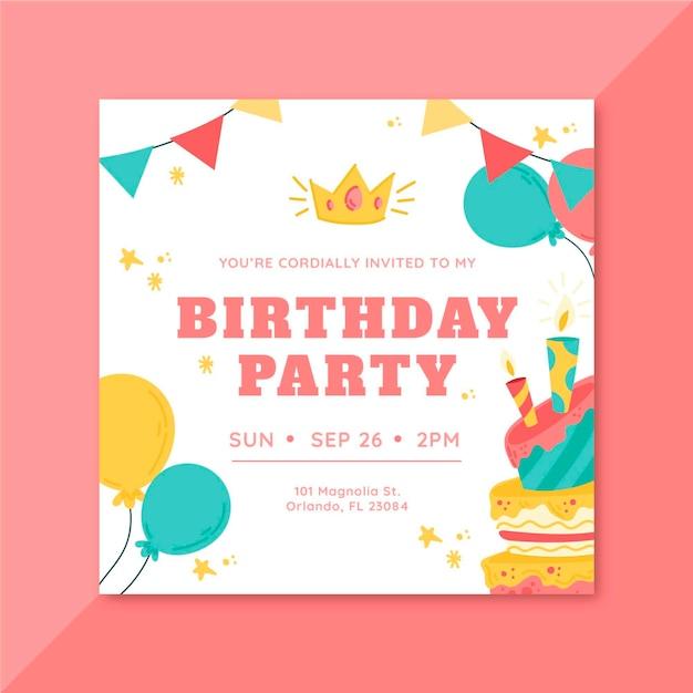誕生日の招待状のコンセプト 無料ベクター