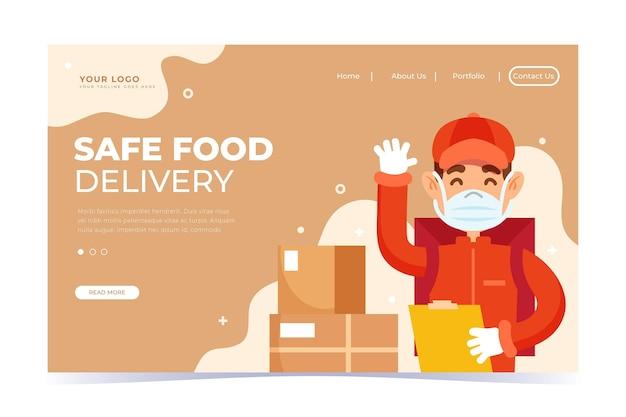 Целевая страница безопасной доставки еды Бесплатные векторы