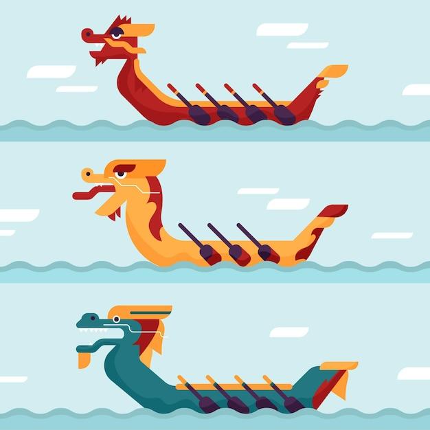 Набор лодок-драконов Бесплатные векторы