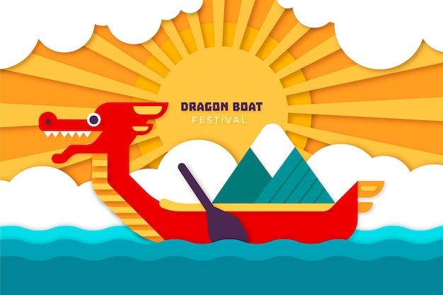 Лодка-дракон в бумажном стиле Бесплатные векторы