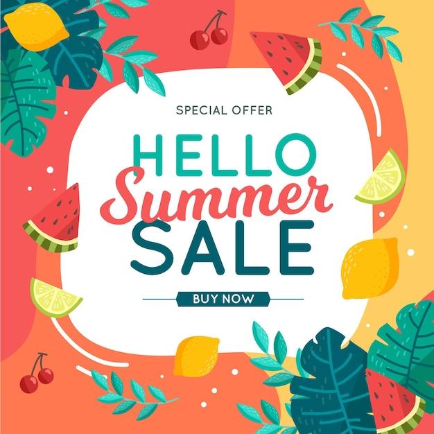 Красочная летняя распродажа концепции Бесплатные векторы