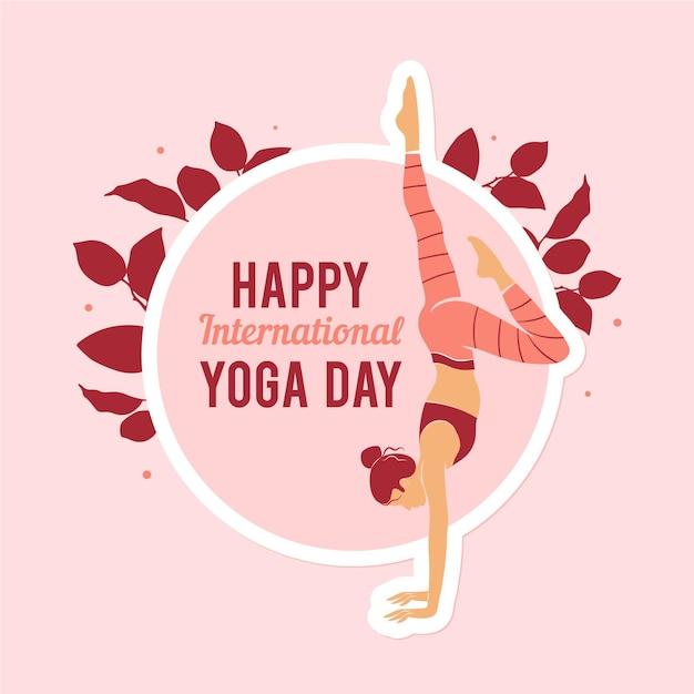 Международный плоский дизайн счастливый день йоги Бесплатные векторы
