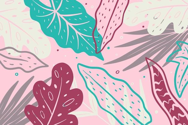 Абстрактный тропический фон листья Бесплатные векторы