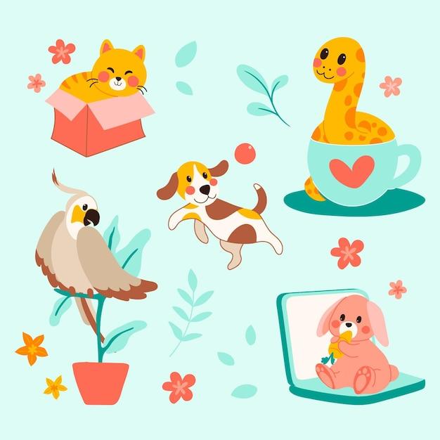 Разные домашние животные Бесплатные векторы