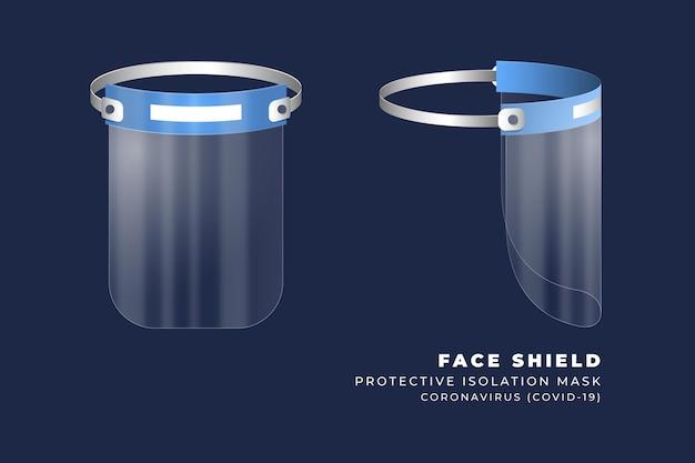 リアルなプラスチック製フェイスシールドの前面および側面図 無料ベクター