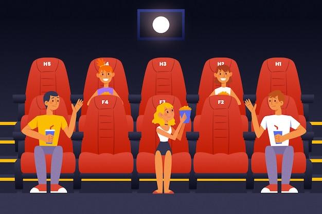 映画館における社会的距離 無料ベクター