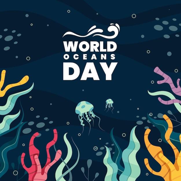 Всемирный день океанов с растительностью и медузами Бесплатные векторы
