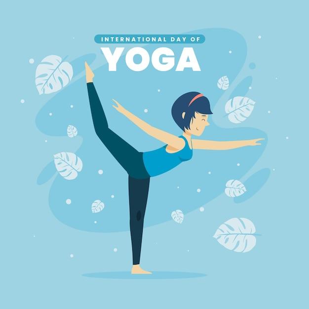Плоский дизайн международного дня йоги Бесплатные векторы
