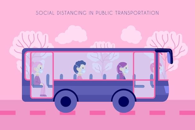 バスと乗客の移動距離 無料ベクター
